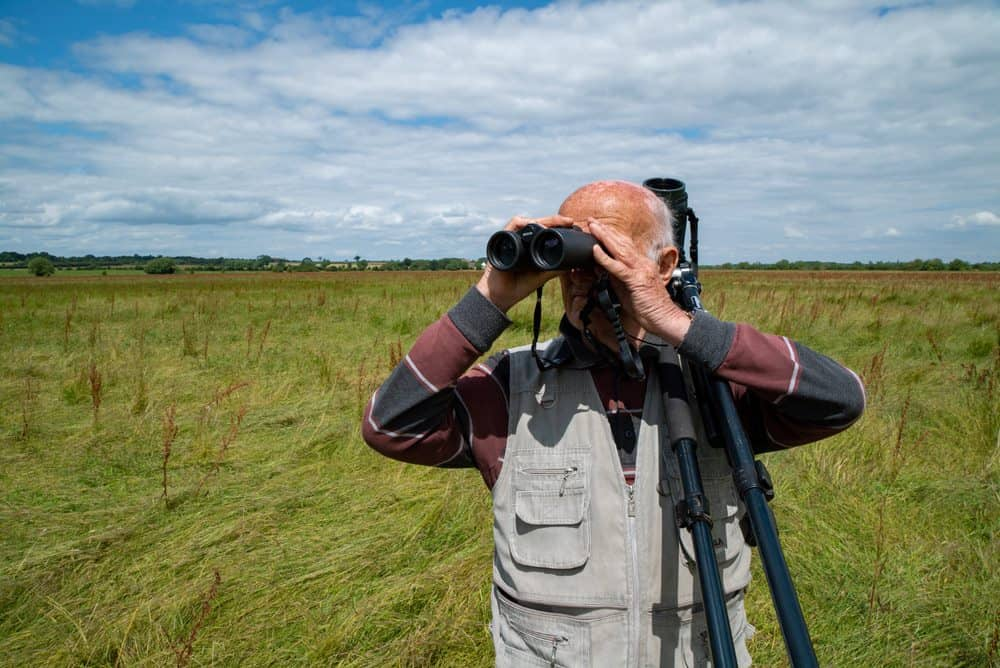 Mike with binoculars