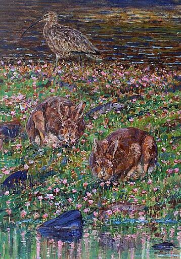 David Bennett - Curlew Mountain Hares and Thrift - Oil D