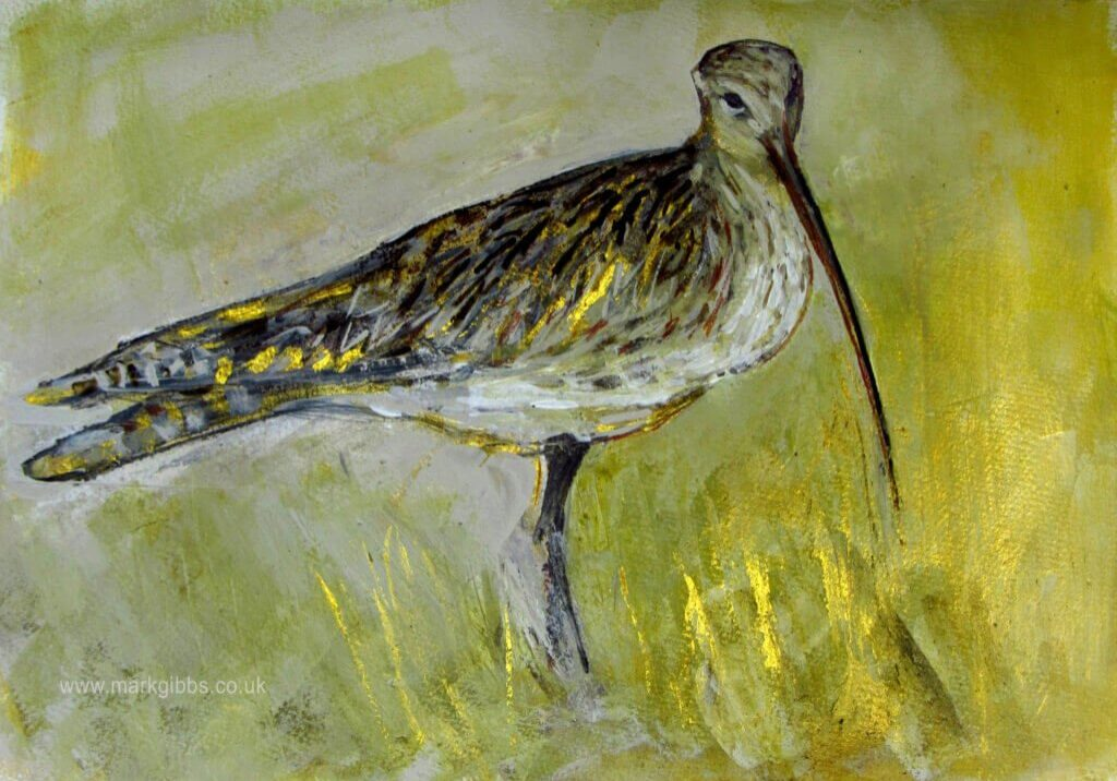 Mark Gibbs Curlew- mixed media including geltsdale mud. 65cm x 40cm croped