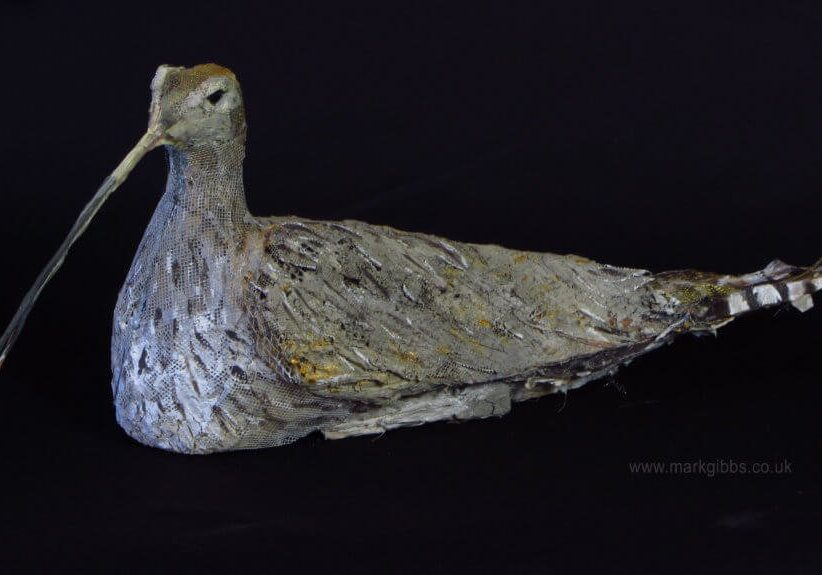 Mark Gibbs Curlew sculpture- Black Background